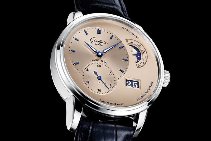 """Glashütte Original PanoMaticLunar with Rose """"Salmon"""" Opaline Dial and Steel Case"""