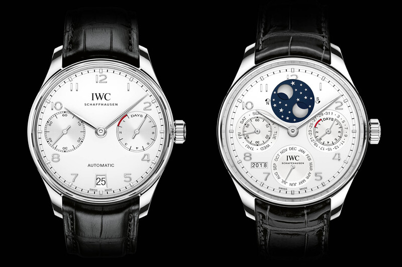 IWC Portugieser Perpetual Calendar in Platinum and Portugieser Automatic in Steel (which might cause a small riot)