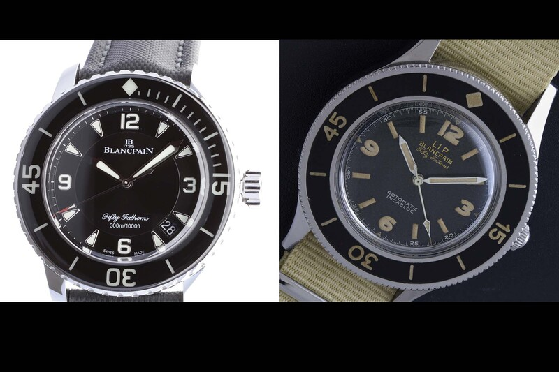 Taking apart a Blancpain Fifty Fathoms from the early 1950's and a brand new one