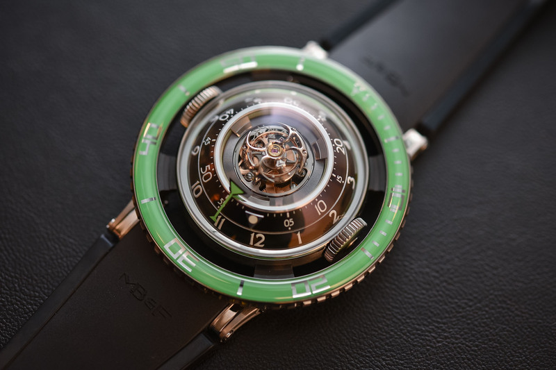 The new Green version of the MB&F HM7 Aquapod